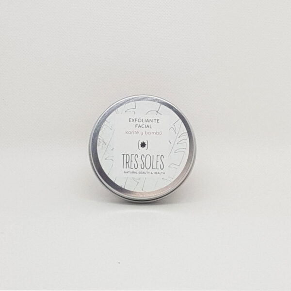 Tarro metálico de exfoliante facial de bambú y karité