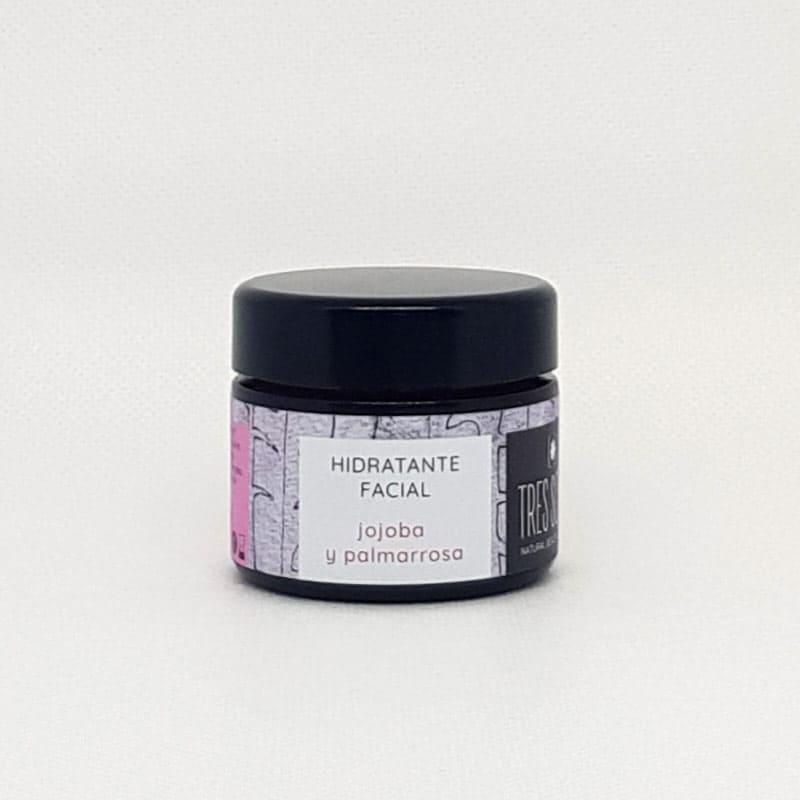 tarro de cristal de hidratante facial de jojoba y palmarosa